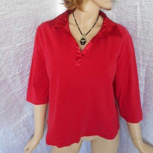 BAY STUDIO Red 100% Cotton Sweater Top Sz 1X Cute!